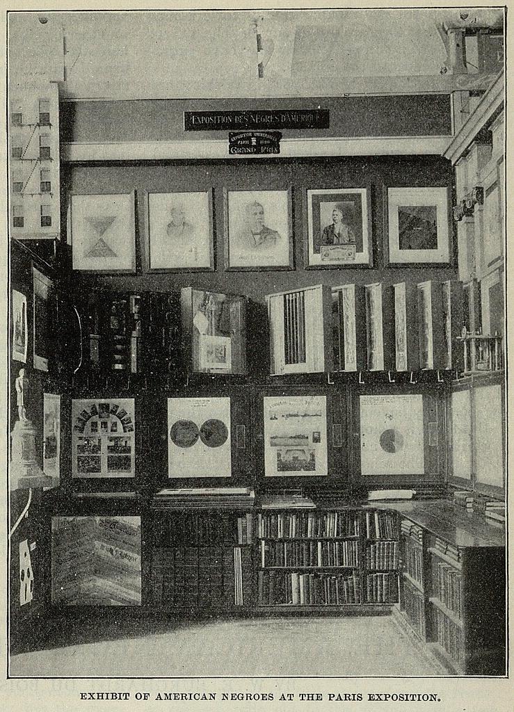 Black and White image of W. E. B. Du Bois' Paris World's Fair exhibition in 1900.