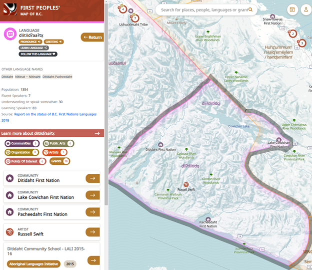 Map depicting Western Vancouver Island and the Ditidaht First Nation territories. A sidebar enables the user to browse different First Nations communities displayed on the map, and has buttons to hear First Nations languages in the represented area be spoken.